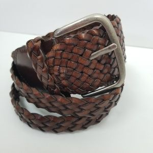 Belt brown leather DOUBLE braided XL wide distress